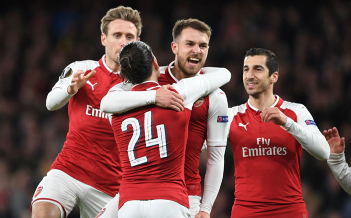 Arsenal players celebrate a victory in the UEFA Europa League. Picture: @Arsenal/Twitter