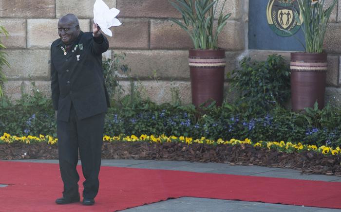 Former President of the Republic of Zambia Dr. Kenneth Kaunda arrives for the inauguration of the newly re-elected South African President, at the Union Buildings in Pretoria, South Africa, 24 May 2014. Picture: IHSAAN HAFFEJEE / POOL / AFP.