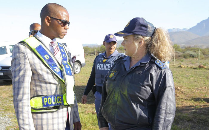 Deputy Police Minister Bongani Mkongi visiting roadblocks in Worcester ahead of his engagement with the community members of Avian Park on 14 August. Picture: SAPS.