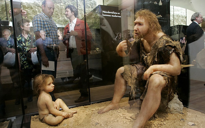 FILE: A picture taken 19 July 2004 shows visitors of the Museum for Prehistory in Eyzies-de-Tayac looking at a Neanderthal man ancestor's reconstruction. Picture: AFP.