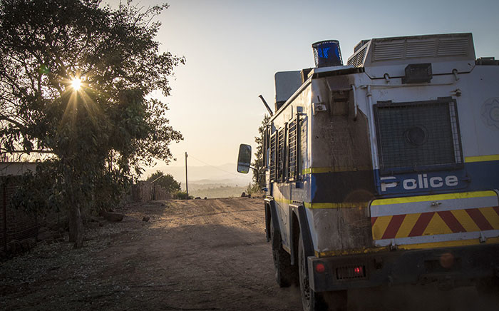 A police nyala patrols streets in Vuwani days before the 3 August elections. Picture: Thomas Holder/EWN.