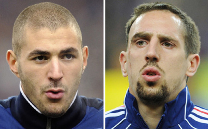 French international footballers Franck Ribery and Karim Benzema. Picture: AFP.