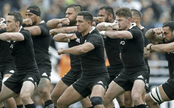 FILE: New Zealand's All Blacks rugby players perform the haka before start the Rugby Championship match against Argentina's Los Pumas at Jose Amalfitani stadium in Buenos Aires, Argentina on 20 July, 2019. All Blacks won 20-16. Picture: AFP.