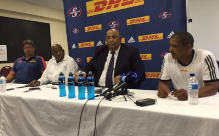Stormers' Gert Smal, Sam Dube, Thelo Wakefield and Allister Coetzee briefing the media on 3 February 2015. Picture: Alicia Pillay/EWN