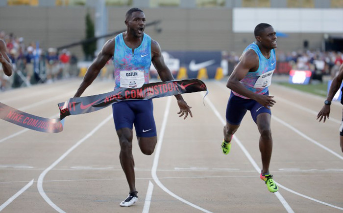 Justin Gatlin celebrates as he wins the Men's 100 Meter Final during Day 2 of the 2017 USA Track & Field Championships at Hornet Stadium on 23 June 2017 in Sacramento, California. Picture: AFP