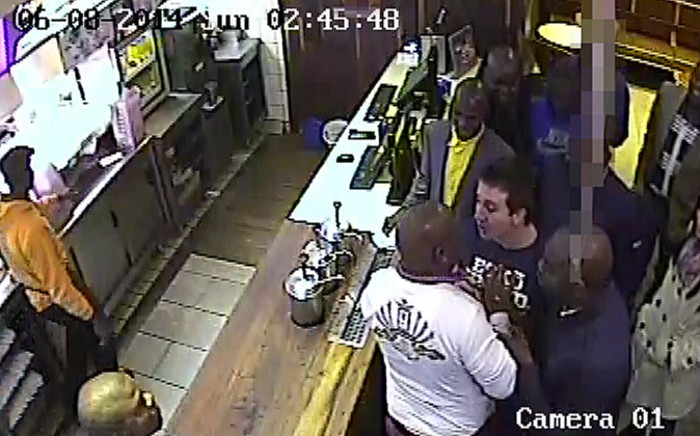 A screengrab from CCTV footage released on Thursday showing EFF leader Julius Malema intimidating a man. Picture: Supplied