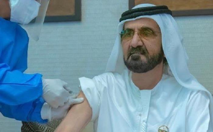 Dubai's ruler Crown Prince of Dubai Sheikh Mohammed bin Rashid Al-Maktoum receiving an injection of a COVID-19 coronavirus vaccine. Picture: @HHShkMohd/Twitter