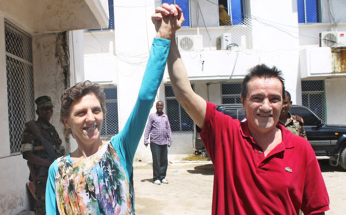 Debbie Calitz and Bruno Pelizzari after their release. Picture: AFP.