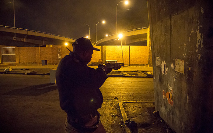 Police used rubber bullets to scare off protesters in the Johannesburg CBD during a flare-up of xenophobic violence on 17 April 2015. Picture: Thomas Holder/EWN