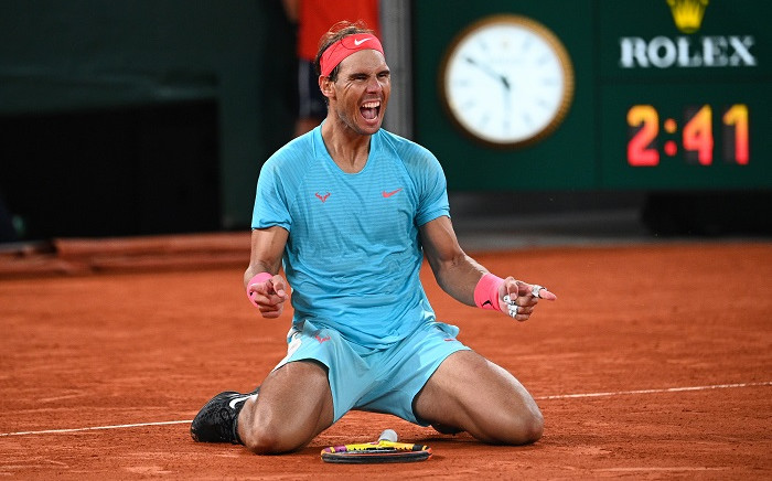 Spain's Rafael Nadal celebrates after winning against Serbia's Novak Djokovic at the end of their men's final tennis match at the Philippe Chatrier court on Day 15 of The Roland Garros 2020 French Open tennis tournament in Paris on October 11, 2020. Picture: AFP