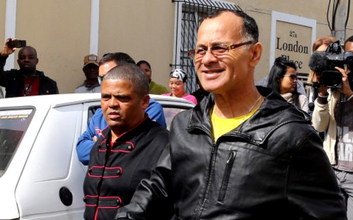 Former Hard Livings gang leader Rashied Staggie is seen after being released on day parole from Pollsmoor Prison in Cape Town, 23 September 2013. Picture: Sapa.
