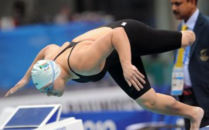 FILE: South African swimmer Natalie Du Toit competes in the final for the women's 100m freestyle S9 at the 2010 Commonwealth Games. Picture: AFP