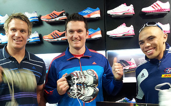 Springbok Captain Jean de Villiers, Bryan Habana and Proteas test captain Graeme Smith all giving away their old running shoes to charity in the lastest Adidas initiative on 9 October 2012. Picture: Alicia Pillay/EWN