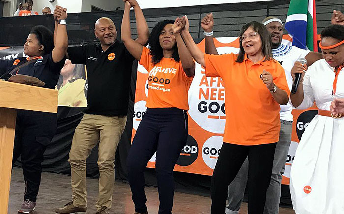 Patricia de Lille seen on stage with officials from her political party Good, where supporters gathered at the Hoofweg Primary School in Blue Downs on Saturday, 16 February 2019. Picture: Lauren Isaacs/EWN