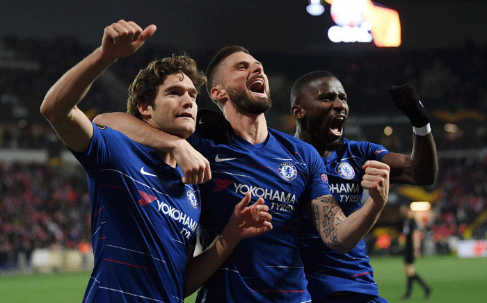A late header by defender Marcos Alonso and Kepa Arrizabalaga's goalkeeping heroics helped Chelsea beat a stubborn Slavia Prague 1-0 in their Europa League quarter-final, first leg on 11 April 2019. Picture: Facebook