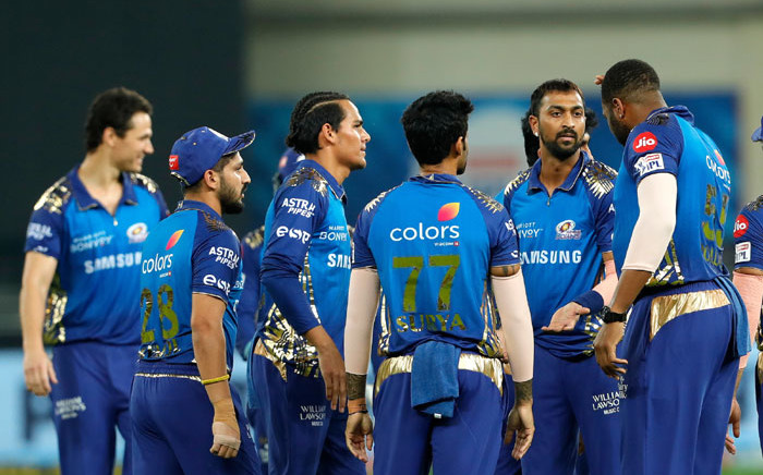 Mumbai Indians players celebrate a wicket during their match against the Delhi Capitals on 5 November 2020. Picture: @IPL/Twitter