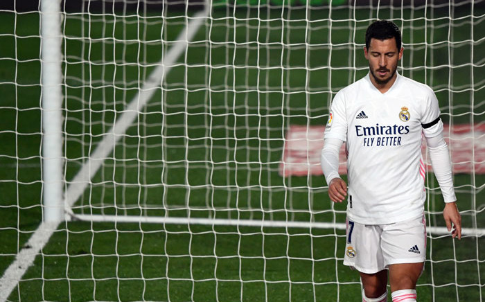 Real Madrid forward Eden Hazard leaves the pitch during the Spanish League football match between Real Madrid and Deportivo Alaves at the Alfredo Di Stefano stadium in Madrid, on 28 November 2020. Picture: AFP