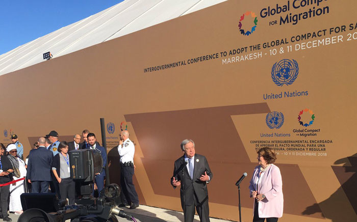 UN Secretary-General Antonio Guterres (L) has described the migration pact as framework for international co-operation. The pact was adopted on 10 December 2018. Picture: @UNmigration/Twitter