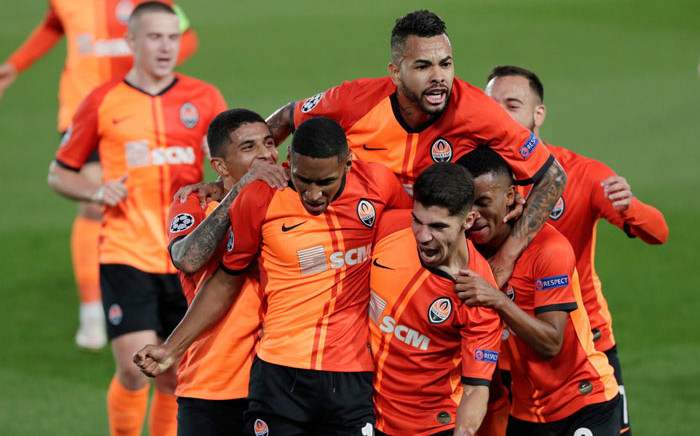 Shakhtar Donetsk players celebrate a goal against Real Madrid in their UEFA Champions League match on 21 October 2020. Picture: @ChampionsLeague/Twitter