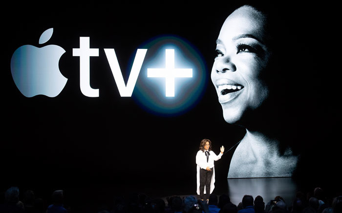 Oprah Winfrey speaks during an event launching Apple tv+ at Apple headquarters on 25 March 2019, in Cupertino, California. Picture: AFP
