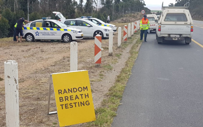 Western Cape traffic officials conducting random breath test during a roadblock. Picture: @WCGovTPW/Twitter.