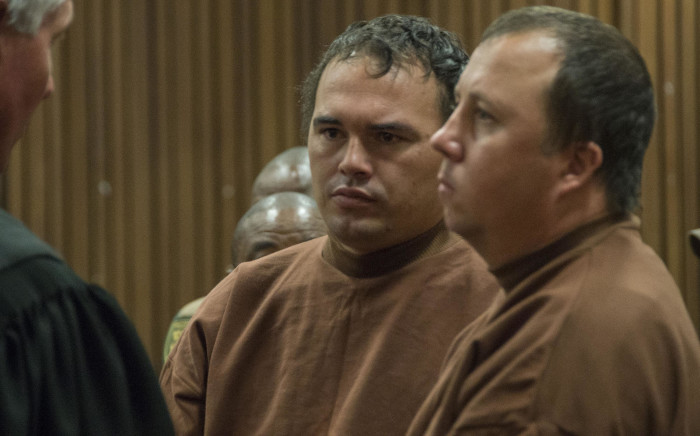 The coffin case duo Theo Jackson (R) and Willem Oosthuizen (L) appeared at The North Gauteng High Court after being summoned by the judge who presided over their case. There was a technical error in their sentencing proceeding which needed to be corrected. Picture: Ihsaan Haffejee/EWN