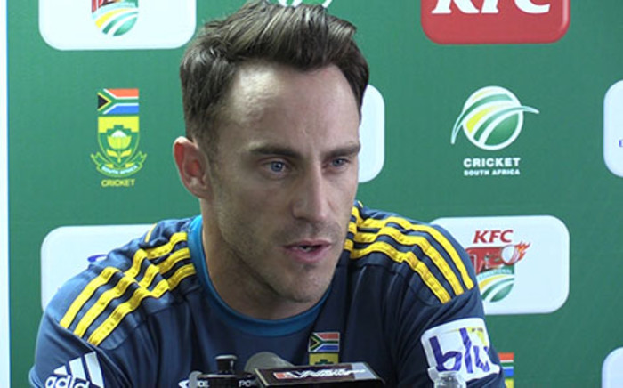Proteas T20 Captain Faf du Plessis speaks to the media ahead of the series against Pakistan. Picture: Vumani Mkhize/EWN.
