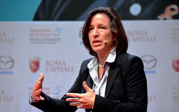 Melissa Fleming, spokesperson for the United Nations High Commissioner for Refugees at the 14th World Summit of Nobel Peace Laureates in Rome on 13 December 2014. Picture: AFP.