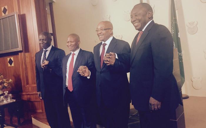 Deputy Chief Justice Dikgang Moseneke, Chief Justice Mogoeng Mogoeng, President Jacob Zuma and Deputy President Cyril Ramaphosa. Picture: Aurelie Kalenga/EWN.