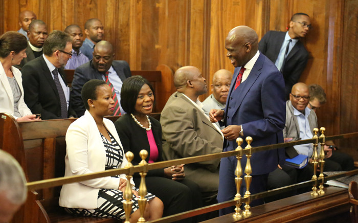 """""""Public Protector Thuli Madonsela and SABC Chief Operations Officer Hlaudi Motsoeneng at the Supreme Court of Appeal in Bloemfontein. Picture: Christa Eybers/EWN"""