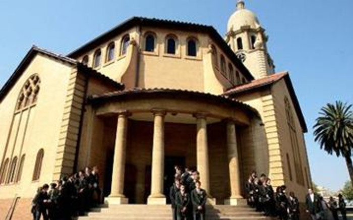 Nic Diederichs Technical High School pupils stand guard at the funeral of Jacques Pretorius. Picture: Werner Beukes/SAPA