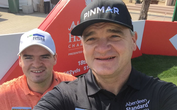 Former British Open champion Paul Lawrie, right, with his son Craig. Picture: @PaulLawriegolf/Twitter