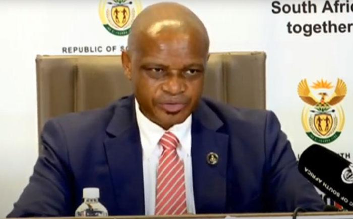 A screengrab of SIU head Andy Mothibi briefs the media on the latest developments in its investigation into the PPE scandal on 5 February 2021. Picture: SABC/YouTube.