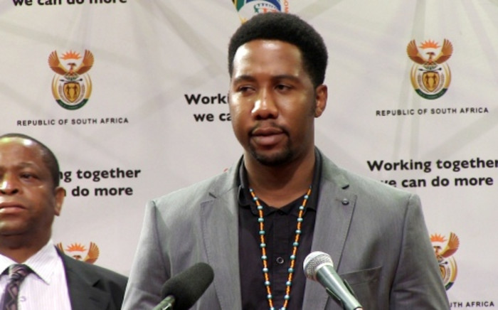 Nelson Mandela's grandson Ndaba Mandela at the family's first public address after Madiba's death. Picture: Reinart Toerien/EWN.