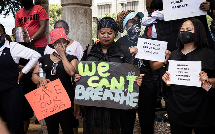 SABC employees picketing outside their offices on 19 November 2020. Picture: Xanderleigh Dookey Makhaza/EWN