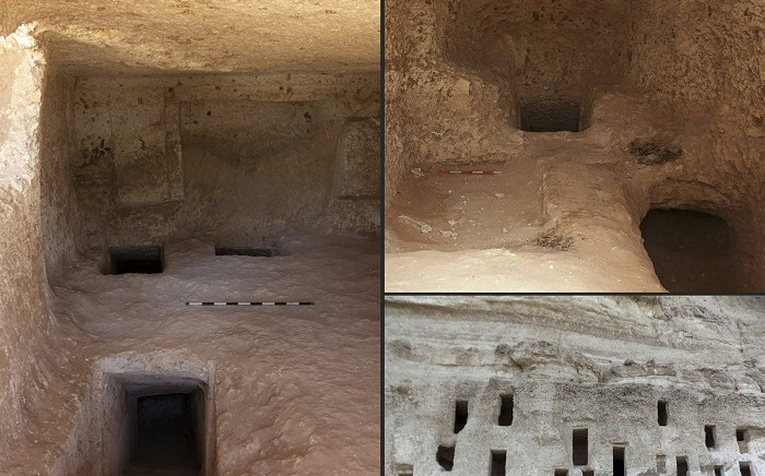 This combination of handout pictures provided by Egypt's Ministry of Antiquities on 11 May 2021 shows a view of newly discovered tombs in the southern province of Sohag, dating back about 4,200 years. Picture: AFP