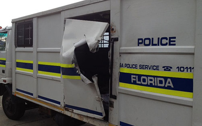 The police truck that was blown up with an explosive device. Picture: Shain Germaner/EWN