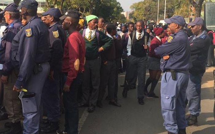 Police at the scene in Pretoria allegedly made several arrests. Picture: Thando Kubheka/EWN.