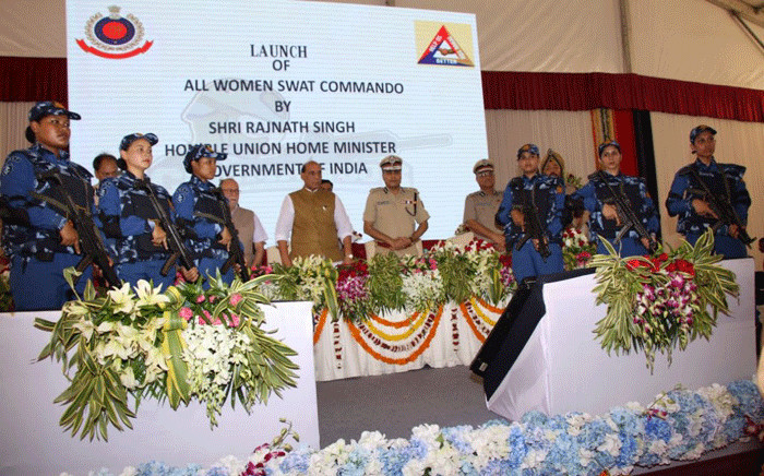 India's All Women SWAT Commando unit in their quest to shield Delhi from Terrorism. Picture: @DelhiPolice/Twitter