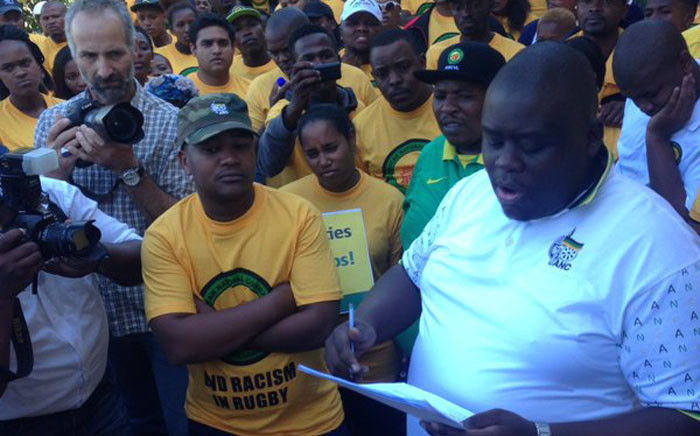 ANCYL Secretary General Njabulo Nzuza reads out a memorandum before handing it over to SA Rugby on 11 May 2016. Picture: EWN