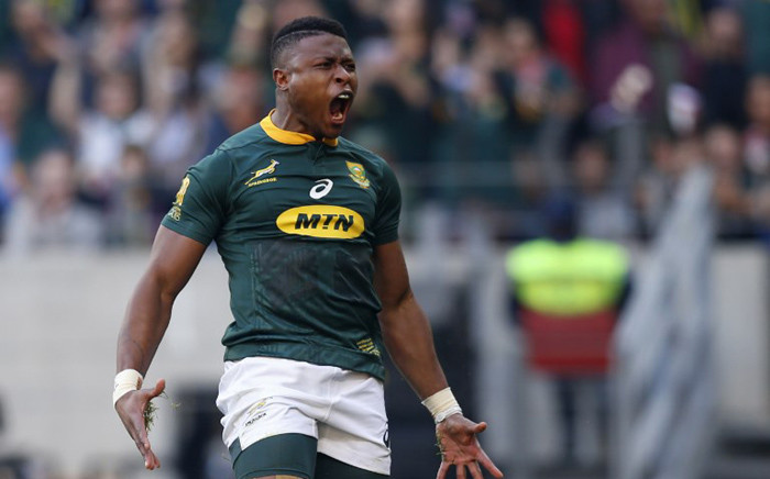 FILE: Aphiwe Dyantyi reacts after scoring a try during the Rugby Championship match between South Africa and Australia at Nelson Mandela Bay Stadium in Port Elizabeth on 29 September 2018. Picture: AFP.