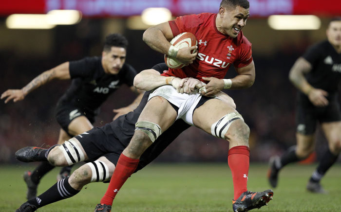 FILE: Wales' number 8 Taulupe Faletau gets tackled during the Autumn international rugby union Test match between Wales and New Zealand at the Principality Stadium in Cardiff, south Wales, on 25 November 2017. Picture: AFP