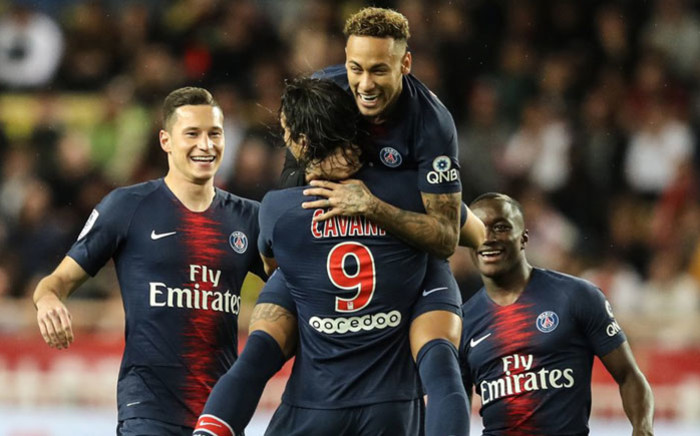 Paris Saint-Germain players celebrate a goal. Picture: @PSG_English/Twitter