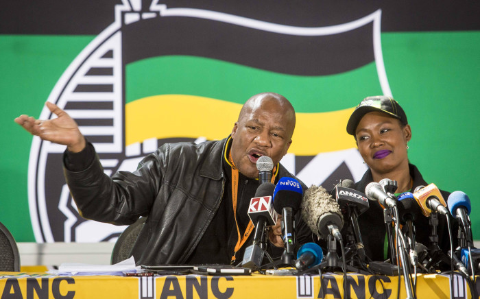 ANC chief whip Jackson Mthembu and Deputy Minister of Telecommunications Stella Ndabeni-Abrahams at a communications briefing at the ANC national policy conference on 5 July 2017. Picture: Thomas Holder/EWN.