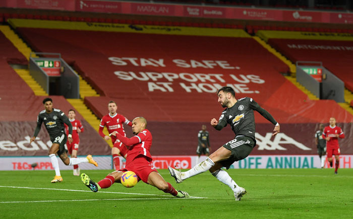 Liverpool's Fabinho blocks a shot by Manchester United's Bruno Fernandes during their English Premier League match at Anfield on 17 January 2021. Picture: @LFC/Twitter