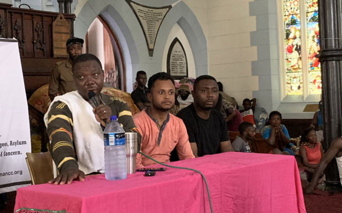 Community leader JP Balous addresses a media briefing over the plight of the foreign nationals at the Methodist Chapel off Greenmarket Square in Cape Town on 14 January 2020. Picture: Kaylynn Palm/EWN
