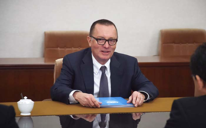 Senior United Nations official Jeffrey Feltman speaks with North Korean Vice Foreign Minister Pak Myong Guk (not pictured) at the People's Palace of Culture in Pyongyang on 6 December 2017. Picture: AFP