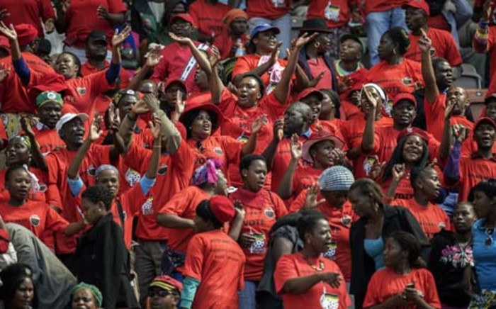 South African ruling party African National Congress supporters cheer during Labour Day celebrations at Peter Mokaba Stadium in Polokwane during an event organized by the African National Congress, the Confederation of the South African Union and the South African Comunist Party on May 1, 2014 in Polokwane, South Africa. Picture: AFP.