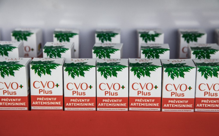 View of the Covid Organics (CVO) remedy in capsule form at the inauguration of the Pharmalagasy pharmaceutical production factory on October 2, 2020 in Antananarivo. The Covid-Organics infusion is derived from artemisia -- a plant with proven anti-malarial properties -- and other indigenous herbs. Picture: AFP