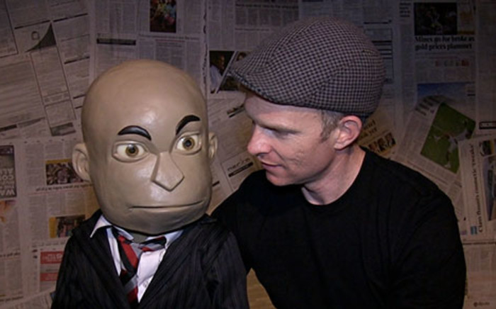 Political puppet Chester Missing and his puppet master Conrad Koch. Picture: EWN.